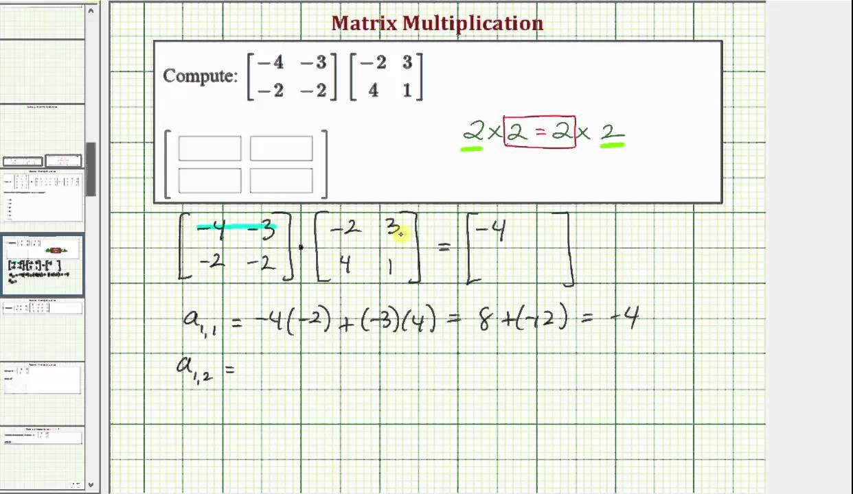 Ex: Matrix Multiplication (2x2)*(2x2)
