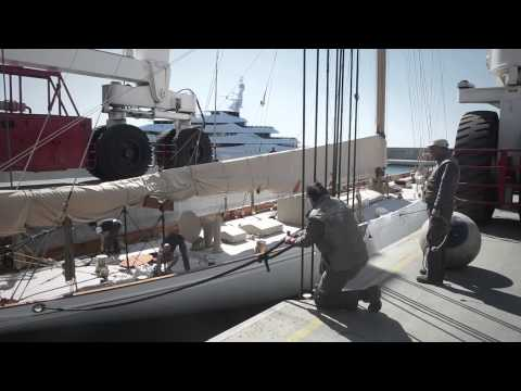 Launching a classic SY at the Amico & Co refit shipyard in Genoa, Italy