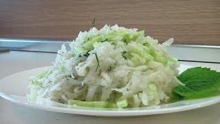 Салат из редьки с огурцом. Очень вкусно!