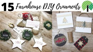 15 DIY ORNAMENTS | DOLLAR TREE DIY ORNAMENTS| FARMHOUSE ORNAMENT IDEAS| RAE DUNN INSPIRED| EASY DIYS
