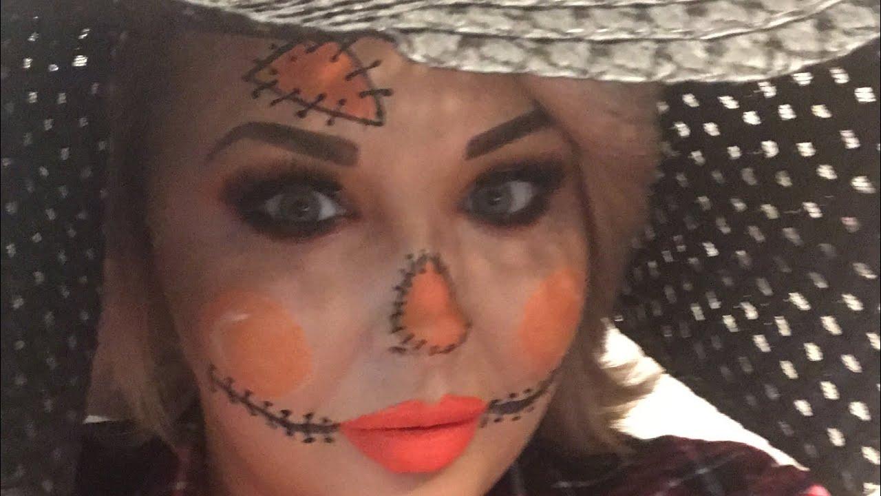 Easy Scarecrow Halloween Makeup Tutorial, Easy Halloween Makeup for  beginners