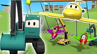 construction-squad-the-dump-truck-the-crane-and-the-excavator-build-a-swinging-babies-in-car-city