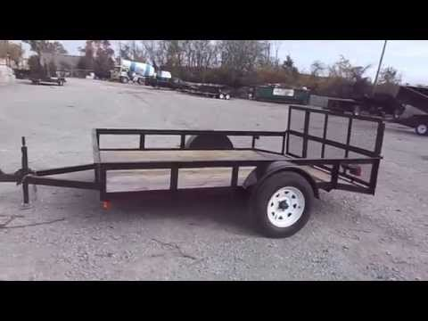 6x10 Utility Trailer With Single Axle And Reinforced Dove Tail Gate