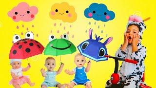Rain Rain Go Away - Playing with Umbrellas - Nursery Rhymes for kids