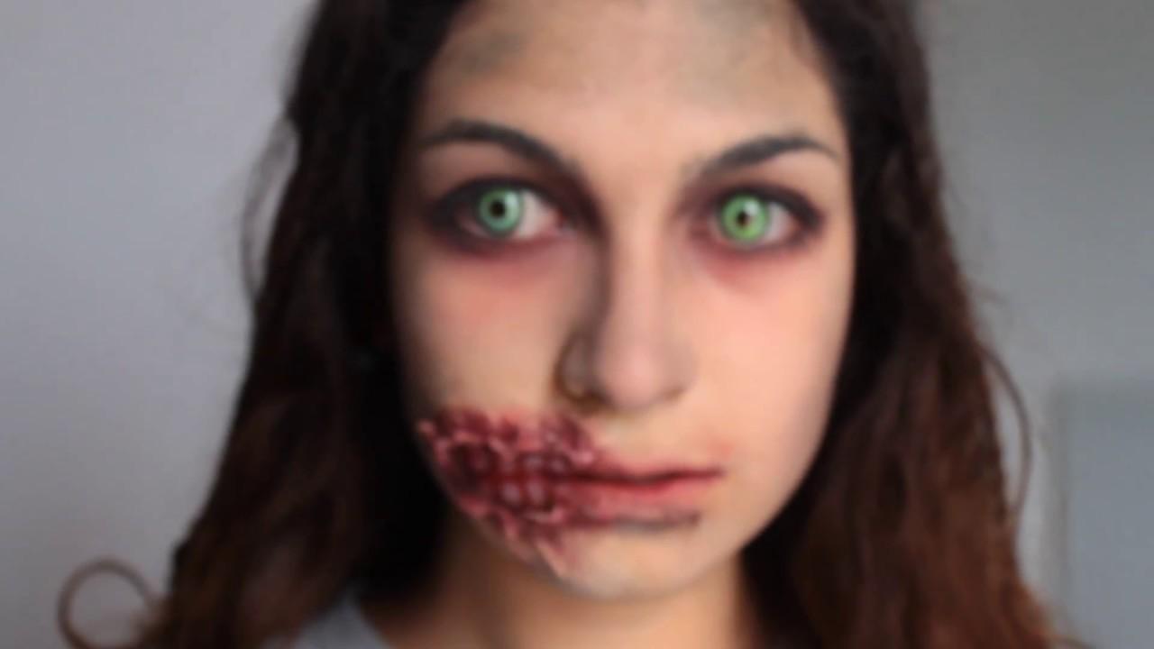 tutoriel maquillage le zombie hardcore version avec bouche d fonc e youtube. Black Bedroom Furniture Sets. Home Design Ideas