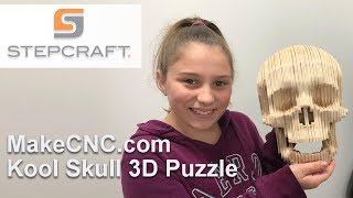 MakeCNC.com Kool Skull 3D Puzzle Cut On Stepcraft Q.204 CNC System