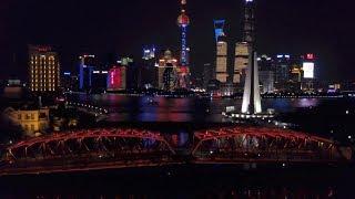 Bund view at night by drone - Shanghai - China