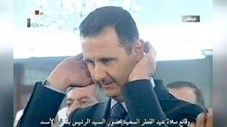 الرئيس السوري يؤدي صلاة عيد الفطر في دمشق و انباء عن تعرض موكبه للقصف
