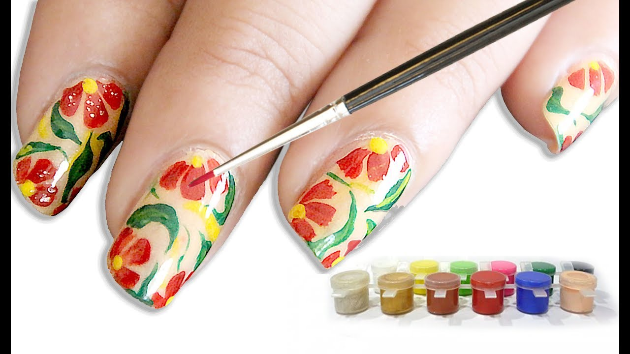 How to use poster color for nail art - YouTube