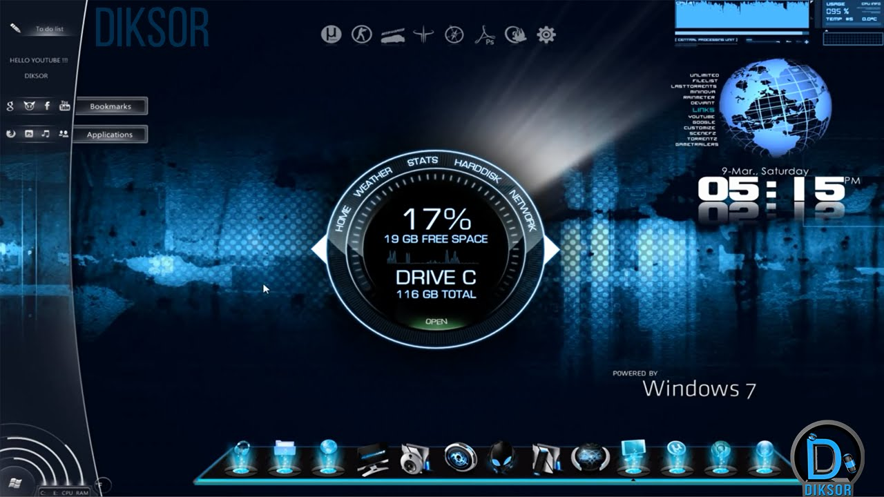 Tuto comment personnaliser son pc fond youtube for Bureau windows 7 rainmeter