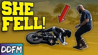 Nikki Dropped Her New Motorcycle!