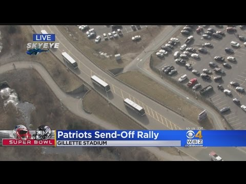 On To Houston! Patriots Buses Depart Gillette Stadium