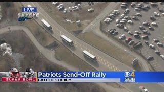 On To Houston! Patriots Buses Depart Gillette Stadium