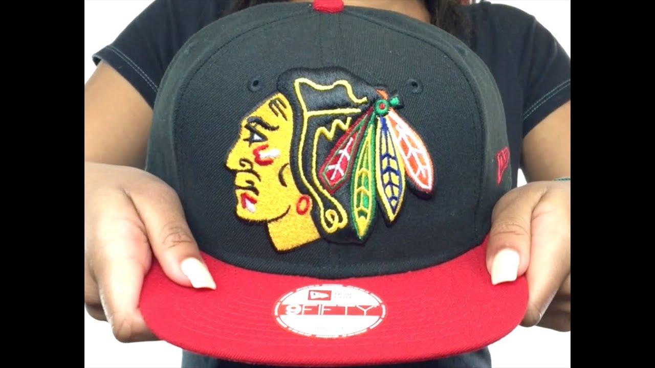 designer fashion 0a39d 549b3 ... france blackhawks logo grand redux snapback black red hat by new era  5825b 0e23f