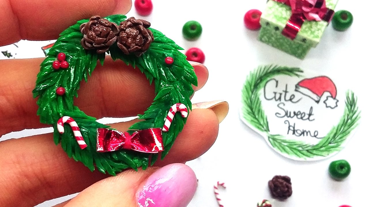 diy miniature christmas wreath polymer clay tutorial youtube - Small Christmas Wreaths