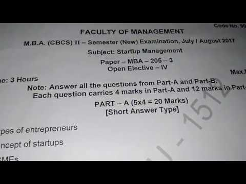 OU MBA SEM 2 START UP MANAGEMENT PREVIOUS YEAR QUESTION PAPER 2017