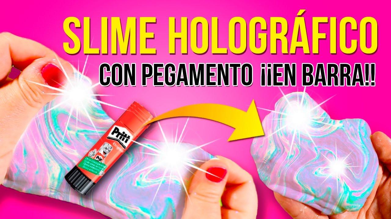 Slime Holográfico Con Pegamento De Barra Y Sin Borax Diy Holo