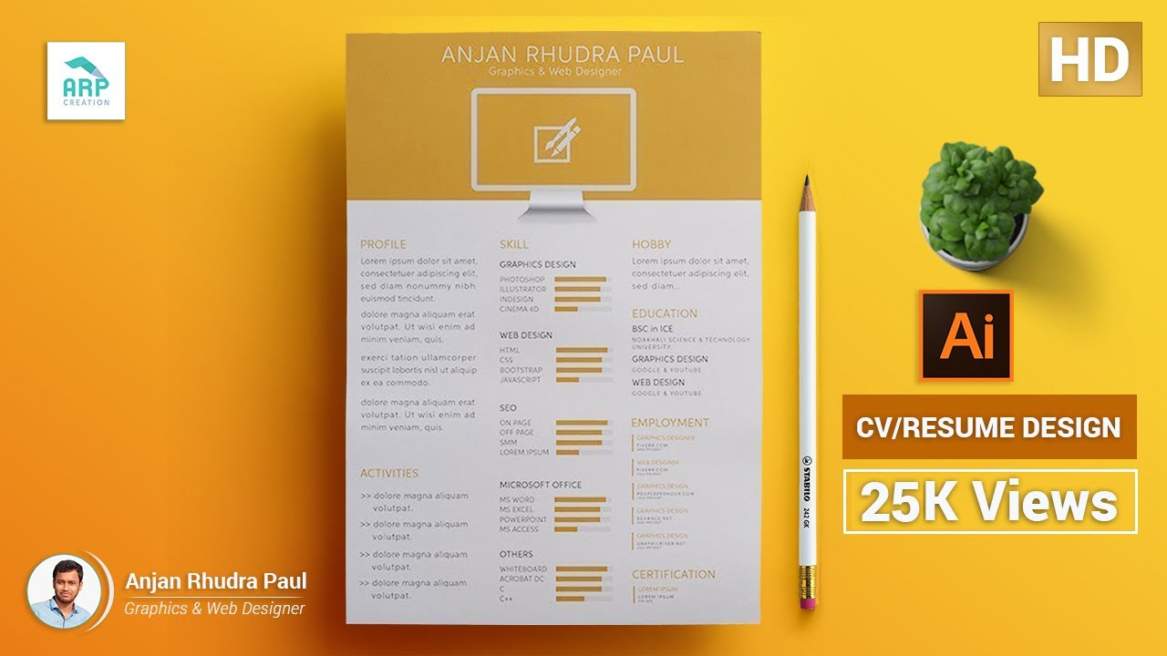 how to create a cv  resume template in illustrator