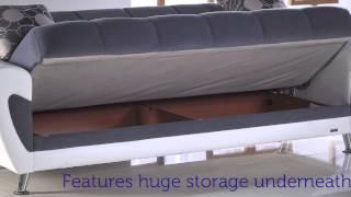 Duru Three Seat Sofa Sleeper With Storage In Gray
