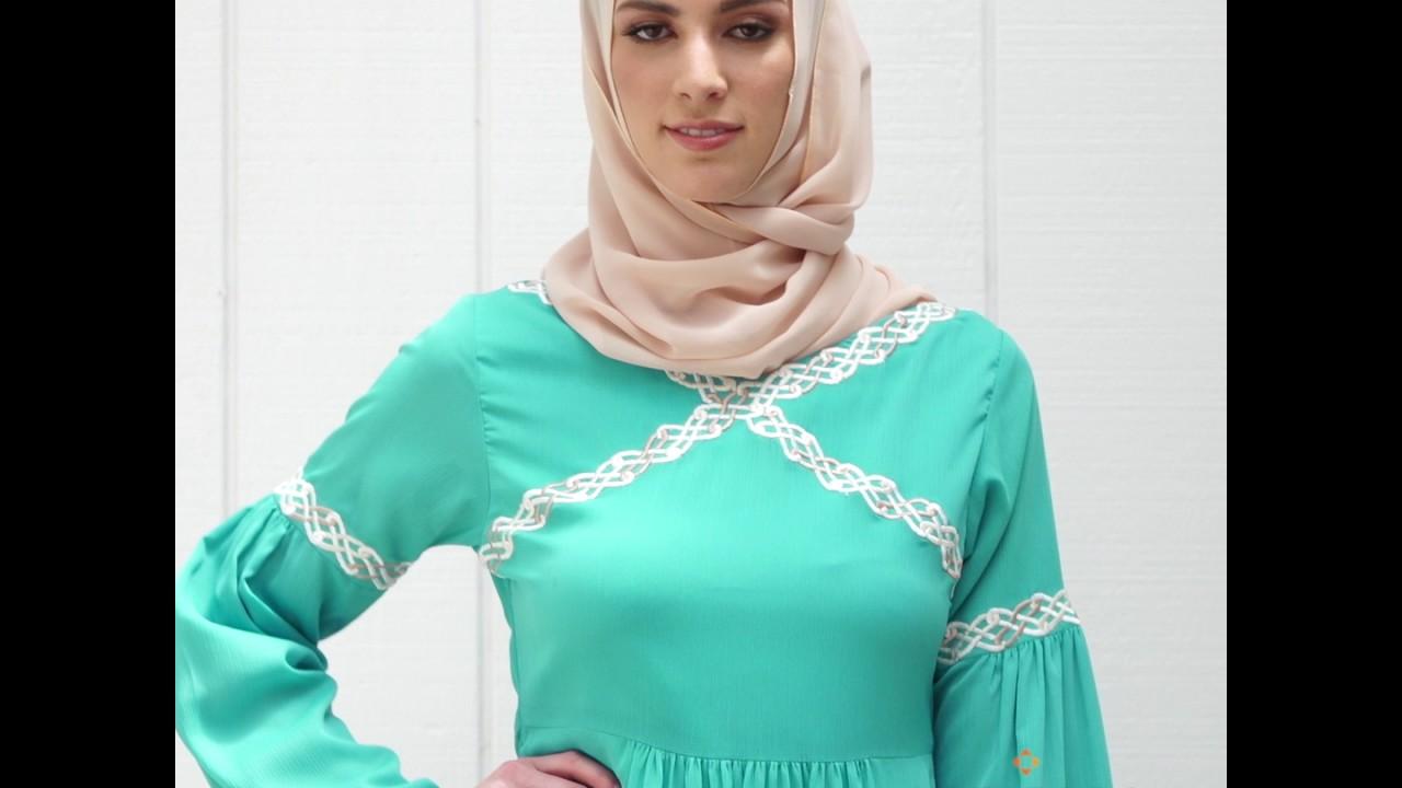 8fa9436a8f3e2 KIRAN EMBROIDERED MODEST ABAYA MAXI DRESS - AQUA BLUE - YouTube