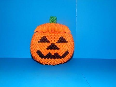 3d Origami Halloween Pumpkin Box Tutorial 2 Diy Paper Halloween