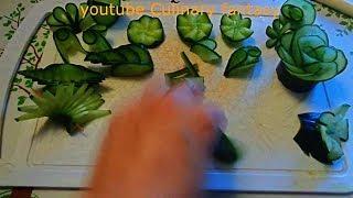 20 Украшений из ОДНОГО ОГУРЦА! Карвинг овощей & 20 СПОСОБОВ Как красиво нарезать ОГУРЦЫ