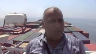 الصحفى مجدى الجندى على ظهر اكبر سفينة حاويات فرنسية خلال عبورها قناة السويس الجديدة
