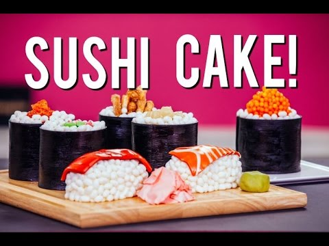 How to Make SUSHI CAKE Chocolate Jelly Roll Sponge Ginger Infused Buttercream & Candy Toppings