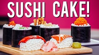 How to Make SUSHI CAKE! Chocolate Jelly Roll Sponge, Ginger Infused Buttercream & Candy Toppings!