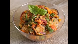 Овощное рагу из баклажан с чечевицей. Видео Рецепт