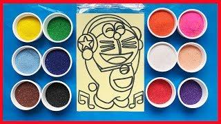 Learn color, Sand Painting Đồ chơi TÔ MÀU TRANH CÁT ĐÔRÊMON NGHE NHẠC (Chim Xinh)
