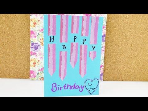 Süße Geburtstagskarte selber machenmit Washi Tape | Einfache Geschenkkarte für die Freundin