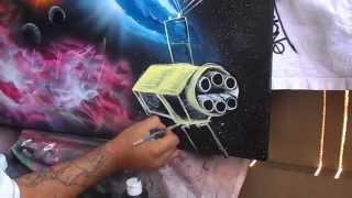 speed painting 3d graffiti on canvas iwata eclipse hp cs