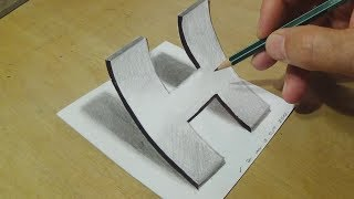 Easy Drawing with Graphite Pencils - How to Draw Letter H - Anamorphic Illusion for Kids & Adults