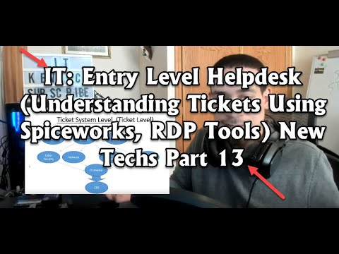 IT: Entry Level Helpdesk (Understanding Tickets Using Spiceworks, RDP Tools) New Techs Part 13