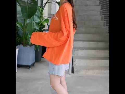 데일리앤 오브럽 여름 오버핏 슬라브 프린팅 긴팔 티셔츠