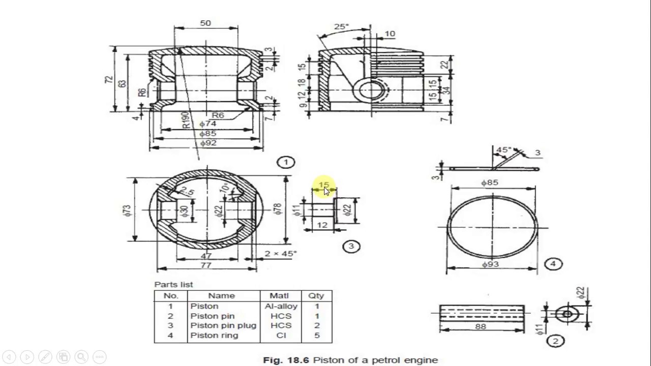 hight resolution of modeling and assembly of piston of a petrol engine