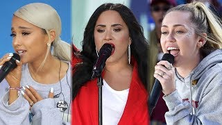 Ariana Grande, Demi Lovato & Miley Cyrus Perform at March For Our Lives Rally