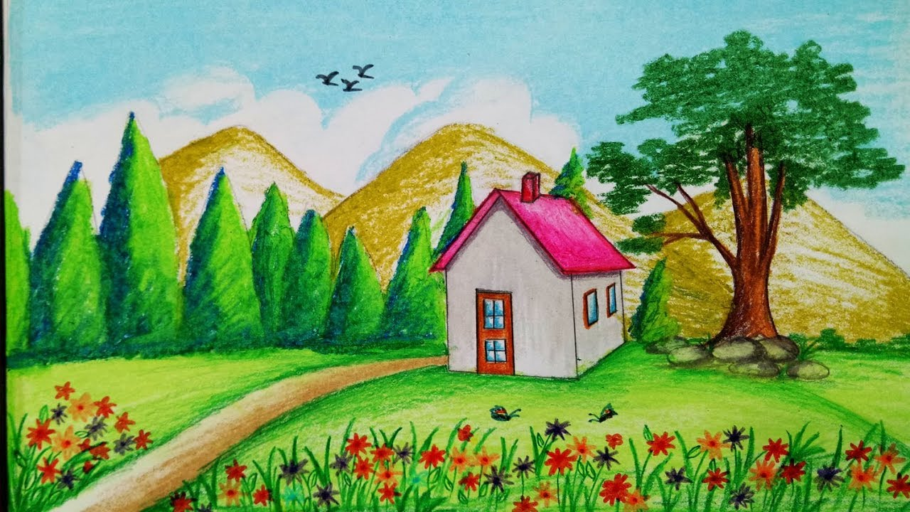 how to draw spring season scenery with oil pastel step by step