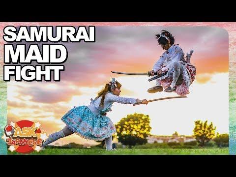 Lolita Samurai: Japanese boy and foreign girl try sword fighting like Japanese samurai