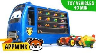 appMink Carrier Truck, Monster truck & School bus toddler Show - kids movies compilation