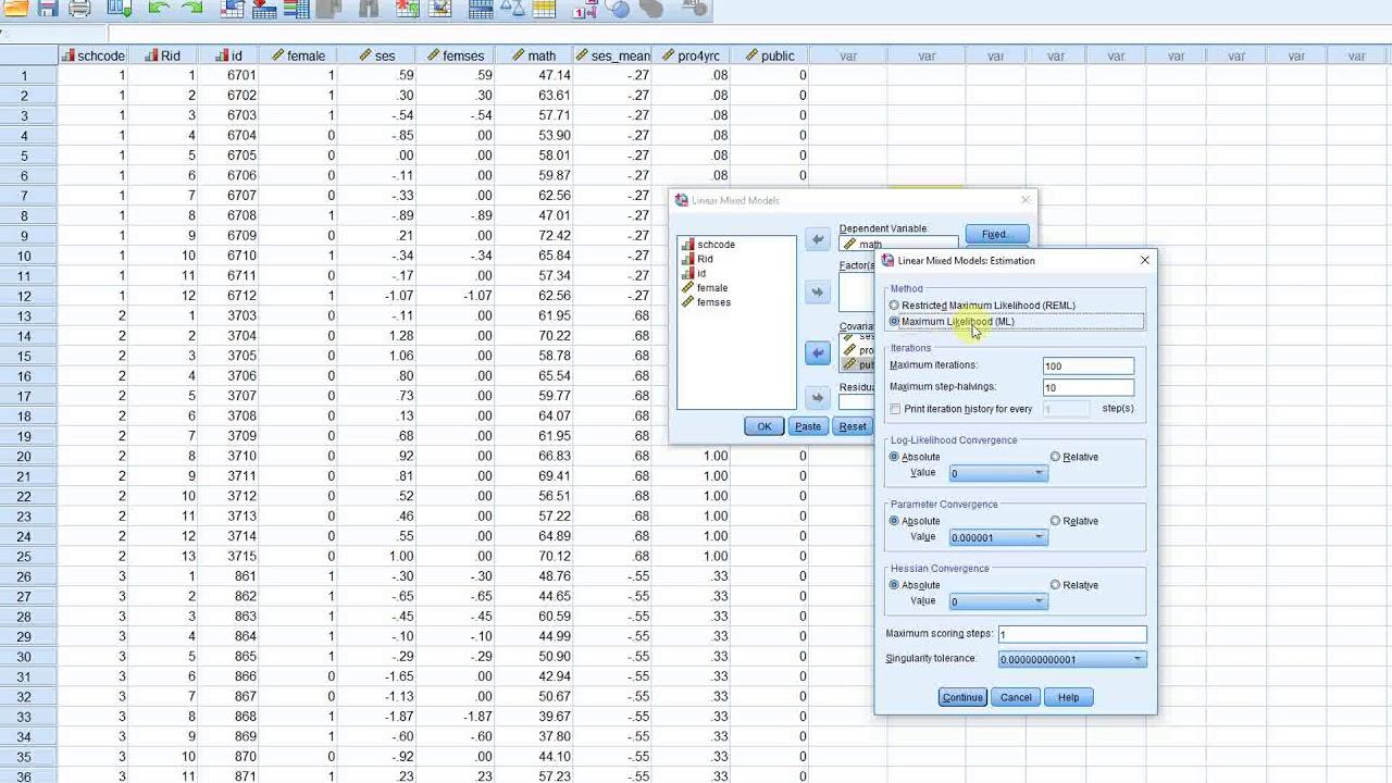 Two-level multilevel model using SPSS (chapter 3 v3)