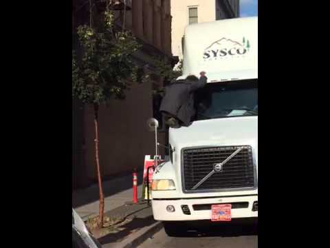 Transient blocks Sysco delivery truck in Old Town - YouTube