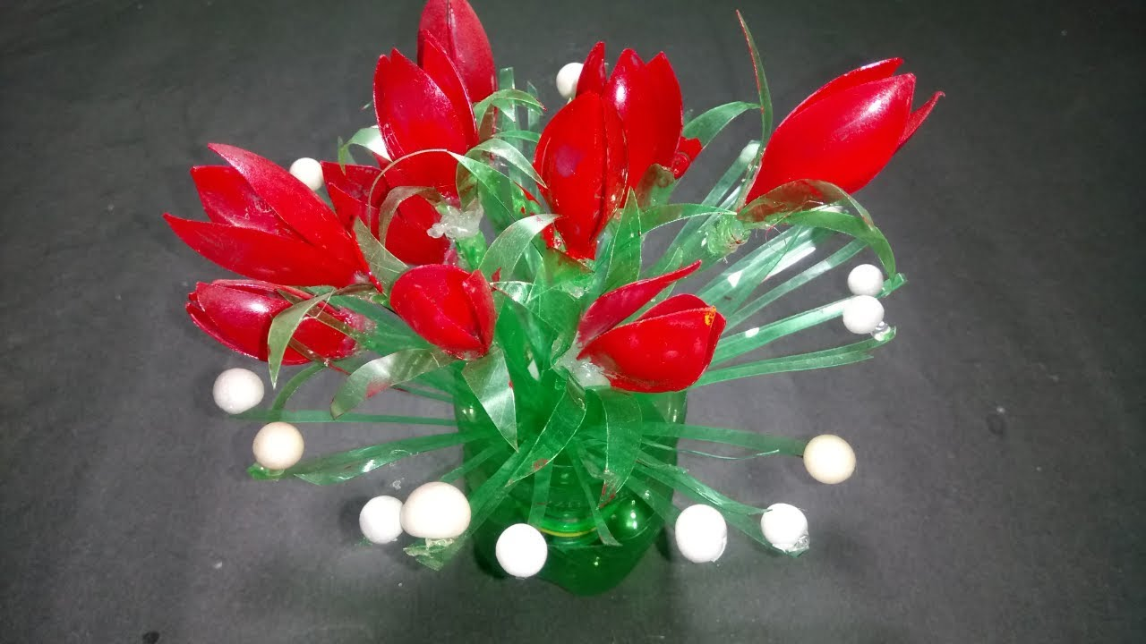 Make beautiful Rose flower from Empty Plastic
