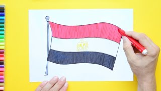 How to draw and color the National Flag of Egypt