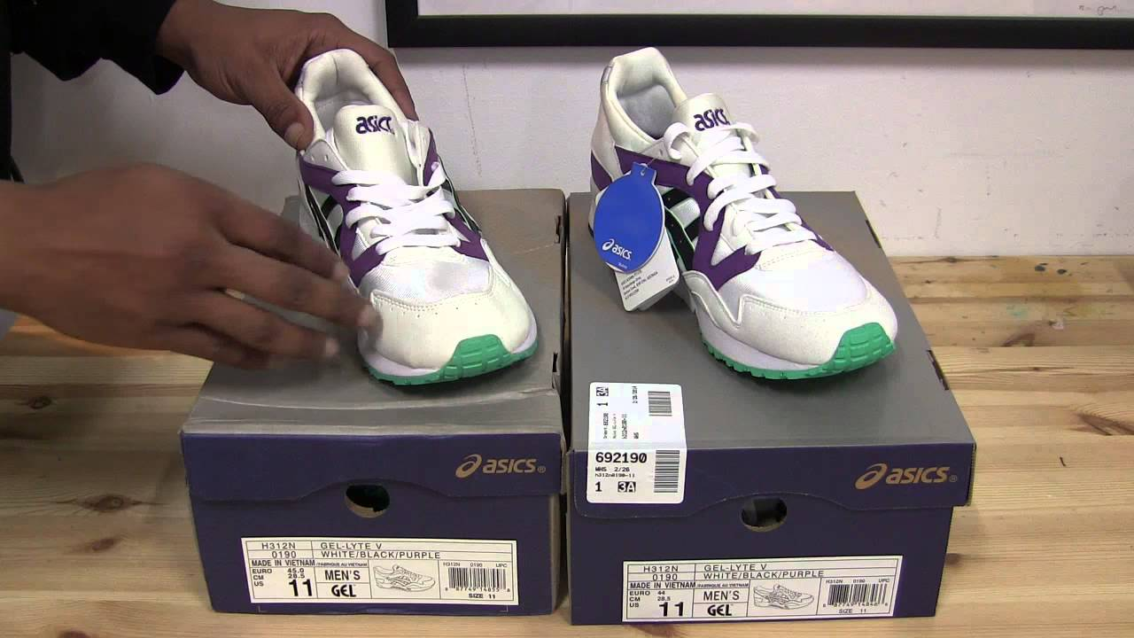 33d856358f0 Asics Gel Lyte V - Replica vs Authentic - Wht/Purple/Blk