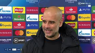 """We are going there to win the game."" Pep upbeat after Man City win late vs. Dortmund"