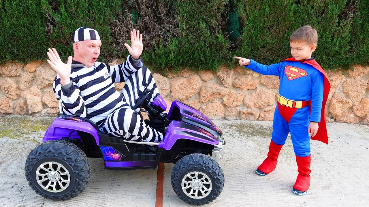 The man take power wheels car - Superman hurry up for help