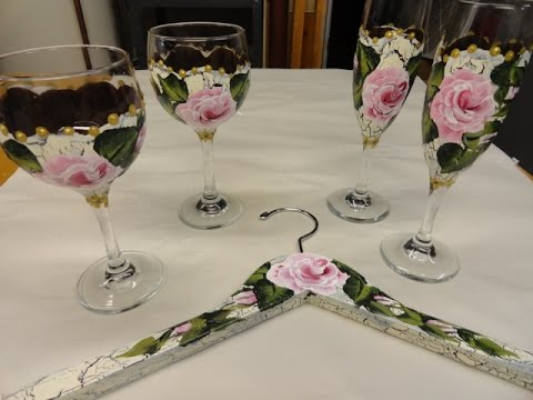 Creating Crackled Rose Painted Wine and Champagne Glasses Video