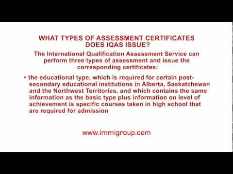 What types of assessment certificates does IQAS issue? - YouTube
